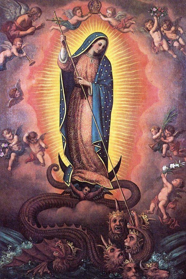 Virgen pisa demonio