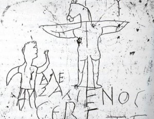 Alexámenos adorando a su Dios. Graffiti del siglo I en Roma