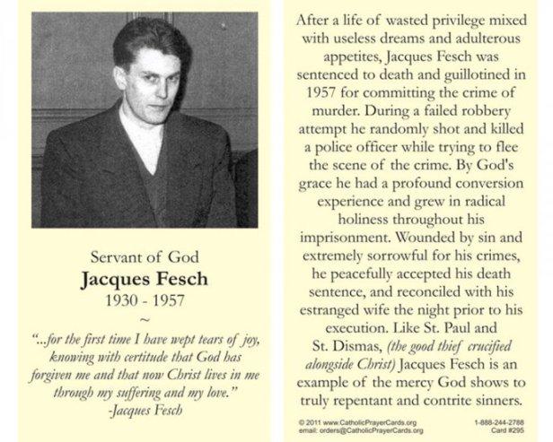 Oración para la devoción privada de Jacques Fesch. Guillotinado muerto con fama de santidad