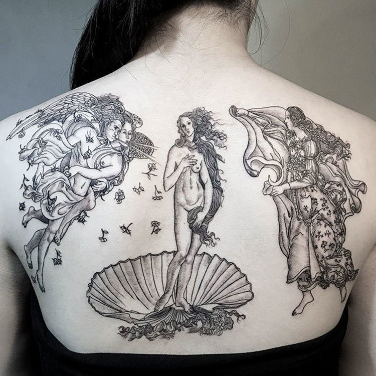 "Tatuaje de ""El Nacimiento de Venus"", Botticelli"